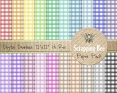 "20 Rainbow Digital Scrapbooking Papers 12""x12"" Gingham / check"