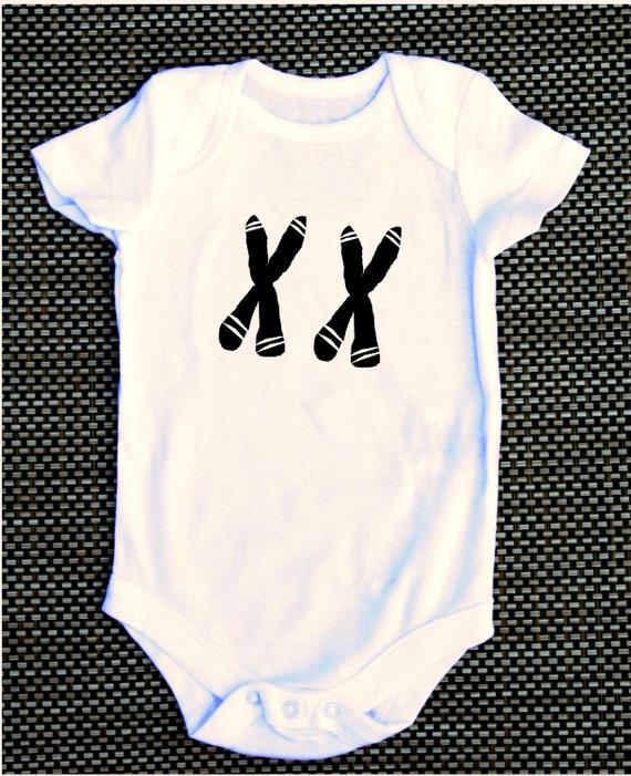 XX chromosome FEMALE girl baby onesie science, geeky, nerdy, funny