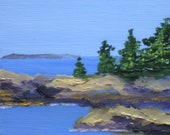 "Maine Painting, Oil Seascape. Shaw's Wharf, New Harbor, Maine. Original Wall Art by Kathleen Daughan, ""Back Cove 3""."