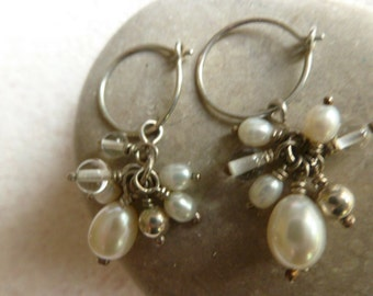 Pearl Clusters, Sterling Silver Sleeper Hoop Earrings