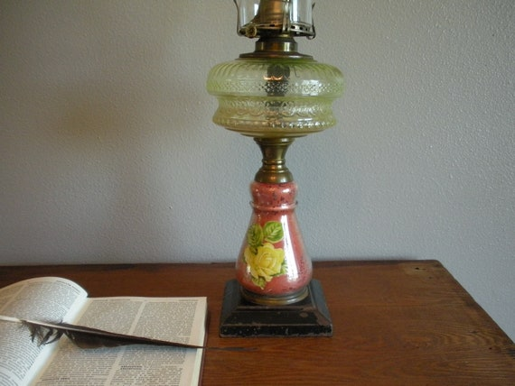 Antique Hurricane Oil Lamp With Glass Shade