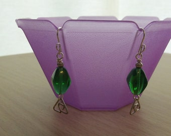 Zelda Inspired Earrings - Wire Triforce and Bead Rupees