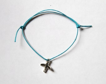 Aeroplane silver charm on waxed cotton cord adjustable friendship bracelet
