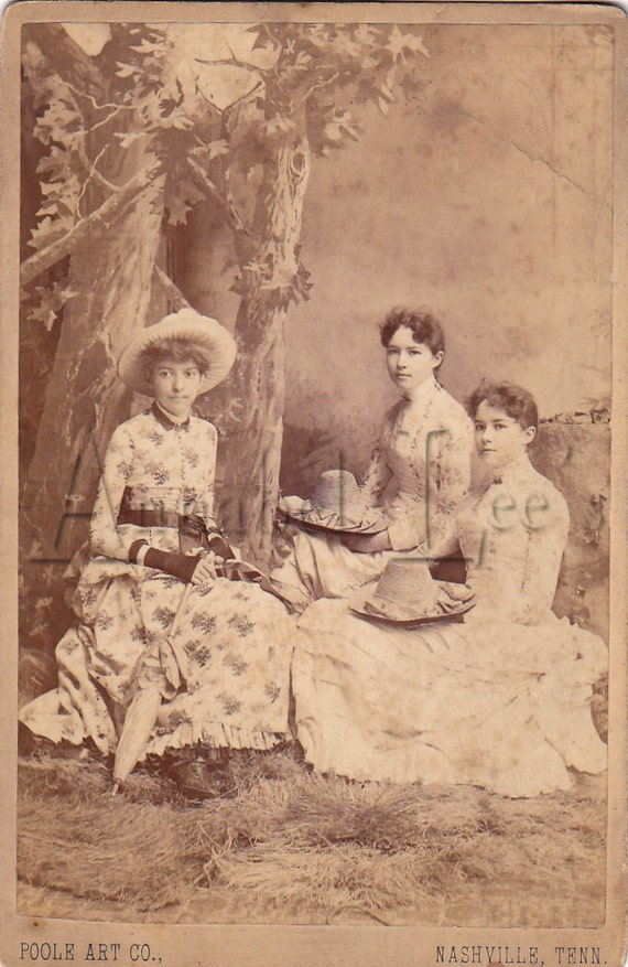 "Cabinet Card of Three Victorian Ladies Seated ""Outdoors"""