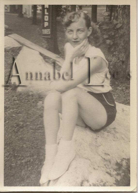 Vintage Photograph - Sassy Dunlop Tire Girl