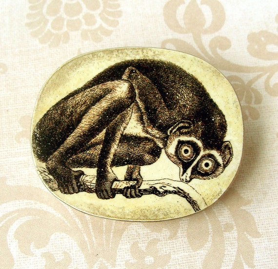 Victorian Lemur Transfer Wood Brooch, Humorous Brooch,  Black and White art, Totem