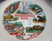 Collectable Vintage YELLOWSTONE PARK Commemorative Souvenir Plate By Homer Laughlin