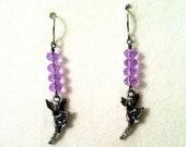 Swarovski Crystal Lavender Angel charm Earrings