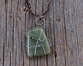 Wire Wrapped Hippo Tooth Jade Necklace