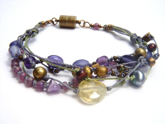 Multistrand Multicolored Gypsy Bohemian Style Beaded Bracelet Purple Gray Green Blue Brass Bracelet Quartz  Bracelet