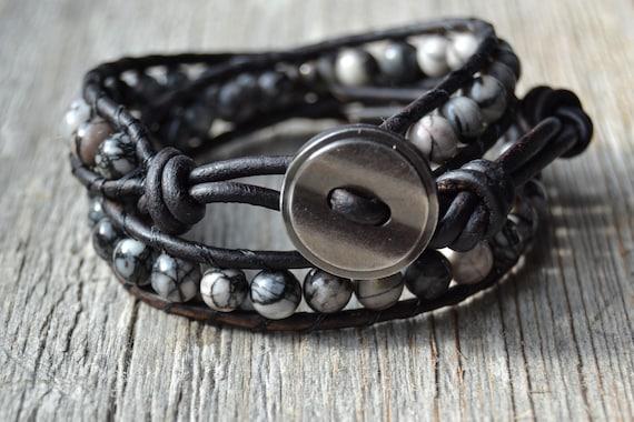 Bohemian bracelet. Double wrap beaded leather bracelet. Zebra jasper beads on dark brown leather