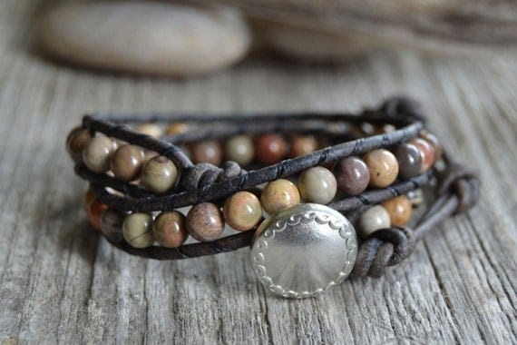 Earthy bohemian bracelet. Natural beaded leather bracelet. Double wrap earth tone bracelet.