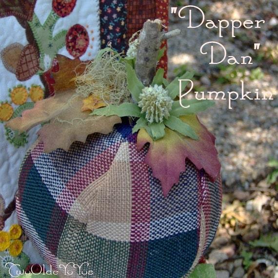 FALL Plaid PUMPKIN Named Dapper Dan Home Cabin Cottage RV Dorm Holiday Decor