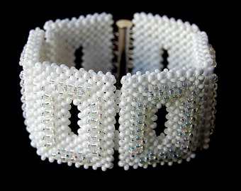 SALE 10% OFF White Statement Beadwoven Cuff Bracelet, Right Angle Weave, Women's Bead Fashion Jewelry,  Bridal Accessory, Gift for Her, OOAK