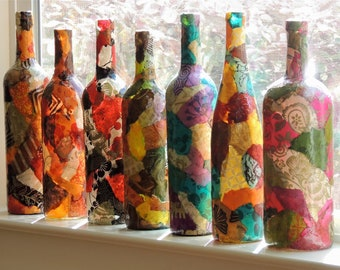 Lokta Paper Decoupage on Wine Bottle in YOUR Favorite Colors, Collage on Wine Bottle, Collage on Vase