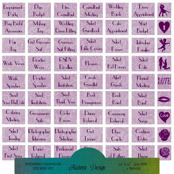 Wedding Planner Calendar : Wedding planner calendar stickers printables by alcheradesign