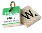 HELLO My Name Is - Scrabble Pet ID Tag - Dog Tag - Custom Pet Tag