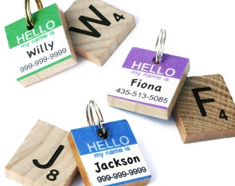 HELLO My Name Is - Classic Scrabble Dog ID Tag - Pet Tag - Dog ID Tags