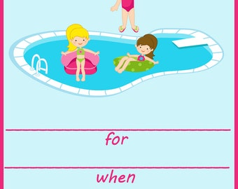 Pool Party Fill In Birthday Invitation