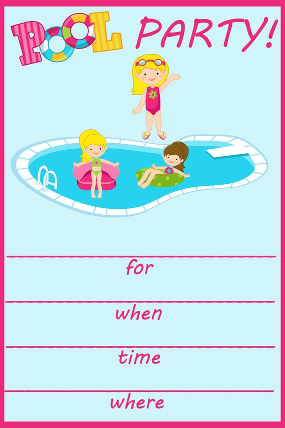 items similar to pool party fill in birthday invitation on etsy. Black Bedroom Furniture Sets. Home Design Ideas