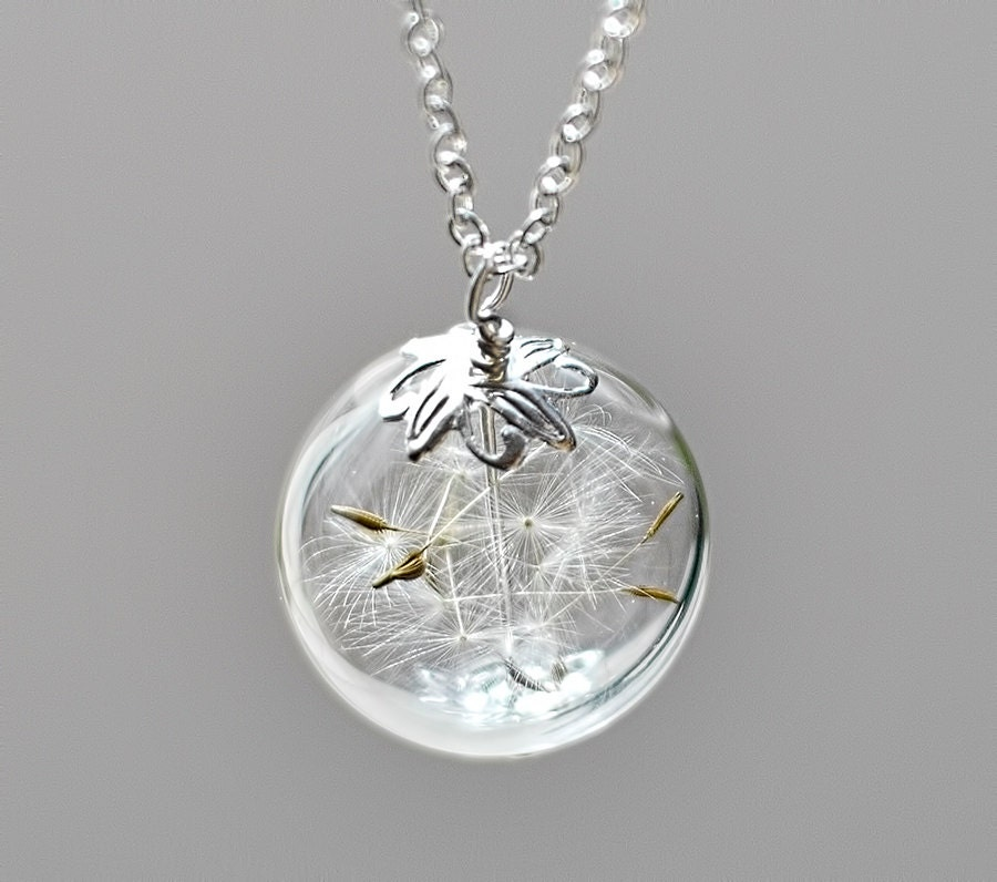 dandelion necklace silver make a wish glass by