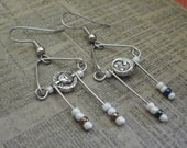 15% off Holiday Special! Celestial Dreams Sun and Moon Dangling Fish Hook Earrings with Beads