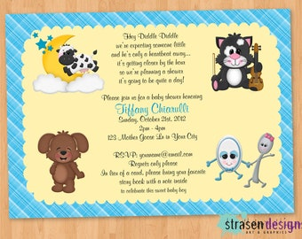 Nursery Rhyme Hey Diddle Diddle Baby Shower Invitation Printable