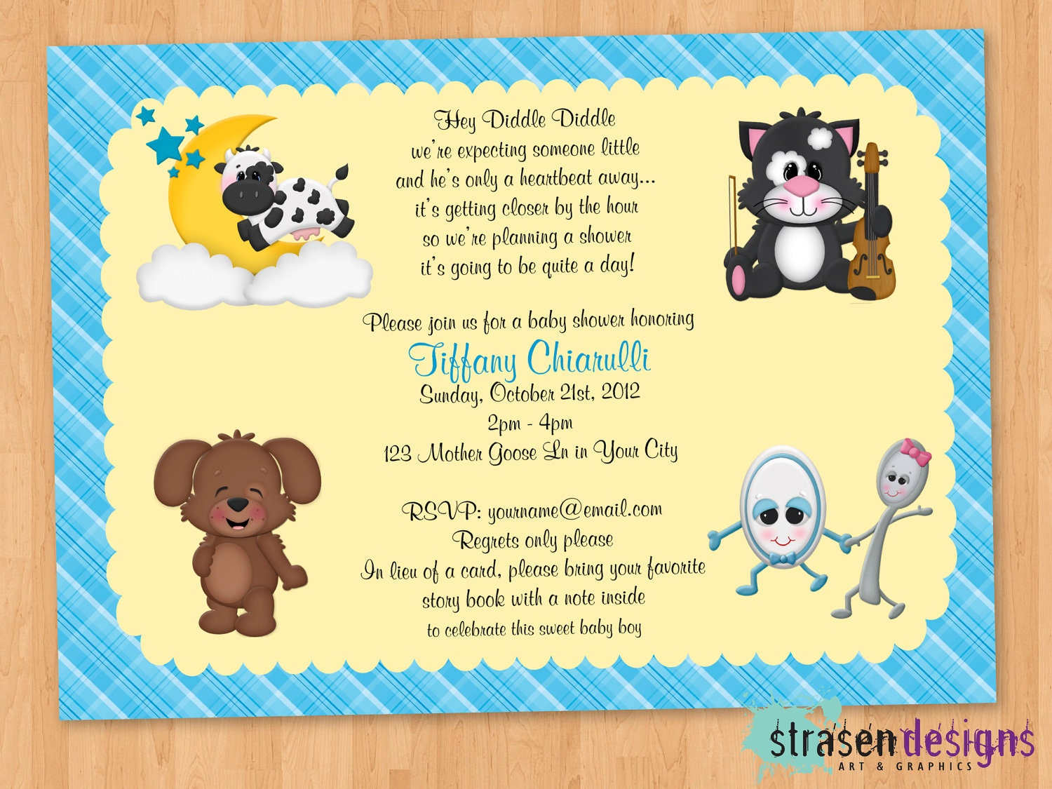 Nursery Rhyme Hey Diddle Diddle Baby Shower by StrasenDesigns: https://www.etsy.com/listing/109346262/nursery-rhyme-hey-diddle...