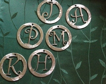 Initial Metal Christmas Ornament   FREE SHIPPING