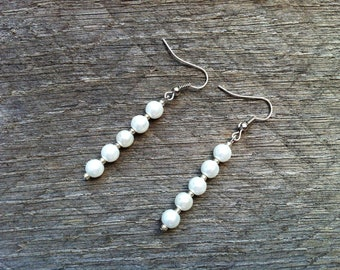 SUMMER SALE White Silver Earrings Glass Pearl on French Wire Hook