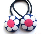 Button Hair Ties in Navy Daisy - Toddler Big Girls - Hair Tie Ouchless Matching Pair for Pigtails