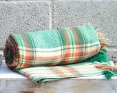 Vintage Welsh Blanket Mid Century Modern Wool Pastel Plaid Check picnic blanket bedding
