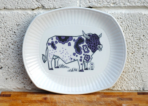 Retro Steak Plate Colourful Cow Ironstone Beefeater plate BBQ Dinner