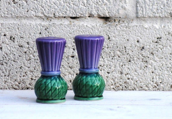 Thistle Salt and Pepper Set Scottish Thistle Scotland Flower Cruet set Purple Green