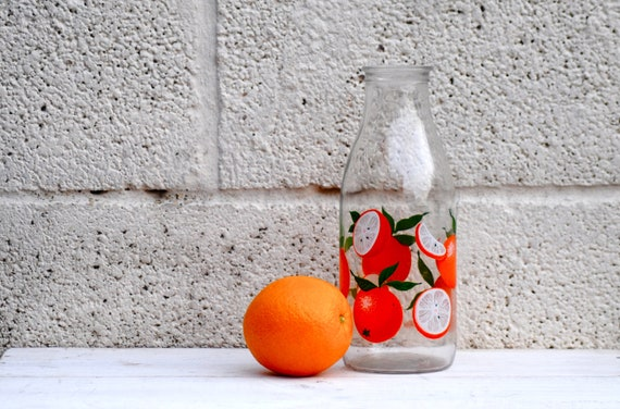 Orange Juice Bottle French Glass Bottle Retro kitchen Vintage Fruit slices green leaves