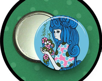 "soooo blue....2.25 inch pocket MIRROR, button or magnet 2 1/4"" size"