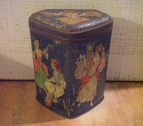 Early Vintage Tin with Cinderella Fairy Tale Theme and Antique Patina - Enchanting