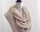 100% RECYCLED Infinity Scarf - Beige Crochet Cotton Scarf