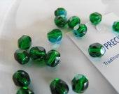 20 Rich Emerald Green AB Czech Glass Beads 6mm (G9)