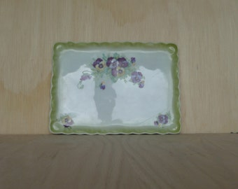 Large Antique Victoria porcelain Czecho-Slovakia square plate with pansies