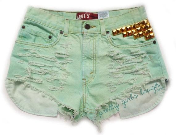 Gold Studded Mint Green Levi Denim Shorts (Medium)