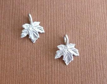 Sterling Silver Maple Leaf Charms -- 2 Pieces -- 925 Sterling Autumn Oak Leaf Oxidized Pendants