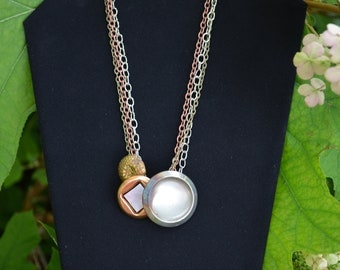 Handmade Vintage Button Necklace SB40 industrial chic brass copper MOP mother of pearl tin