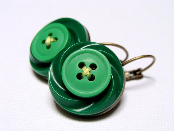 "Retro Jewelry, Green Button Earrings, Vintage Upcycled Accessories, Emerald Green Apple, Eco Jewelry Gift - ""Give 'em the Green Light"""