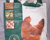 Upcycled Recycled Feed Pet Reusable Tote Shopping Bag - Eco Friendly Chicken