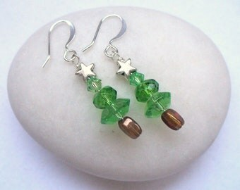 Drop, Dangle Christmas Tree Earrings made with Glass Beads and Swarovski Crystals for Holidays, Winter, Gifts for Her