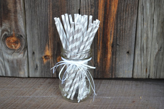 Light Gray Striped Straws with FREE Printable Straw Flags