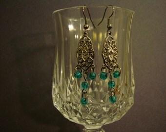 Gunmetal Earrings with Green-blue Beads