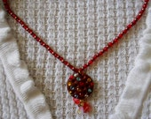 Brown and red pendant necklace / brown pendant / red necklace / Polymer Clay