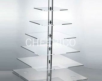 7 Tier Square Pole Wedding Cupcake Stand Display tower